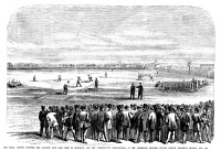 0355284 © Granger - Historical Picture ArchiveBROOKLYN: BASEBALL, 1866.   Baseball game between the Atlantic Base Ball Club of Brooklyn and the Athletics of Philadelphia, at the Capitoline Grounds on Fulton Avenue in Brooklyn, New York, 16 October 1866. Contemporary American wood engraving.