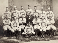 0408065 © Granger - Historical Picture ArchiveBROOKLYN BASEBALL, 1889.   The Brooklyn Bridegrooms. Photograph, 1889. Front row: Mickey Hughes. Middle: George Pinckney, Bob Caruthers, Hub Collins, Bill McGunnigle, Oyster Burns, Bob Clark. Back Row: Germany Smith, Pop Corkhill, Adonis Terry, Dave Foutz, Darby O'Brien, Doc Bushong, Joe Visner, Tom Lovett.