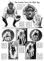 0433737 © Granger - Historical Picture ArchiveBASEBALL: CATCHER SIGNALS.   Diagram of signals used by New York Giants catcher Earl Smith. Illustration, 1920.