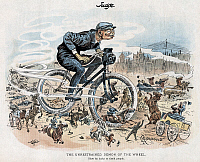 0009862 © Granger - Historical Picture ArchiveBICYCLING CARTOON.   American magazine cartoon, 1893, on the bicycle craze of the time.