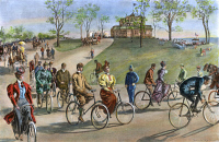 0010780 © Granger - Historical Picture ArchiveBICYCLING, 1895.   Bicycling on Riverside Drive, New York City. Drawing by W.A. Rogers, 1895.