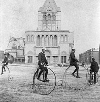0016760 © Granger - Historical Picture ArchiveBICYCLING, 1880s.   Photographed on the plaza near Trinity Church, Boston, Massachusetts, in the 1880s.