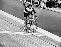 0170567 © Granger - Historical Picture ArchiveDANIEL MORELON (1944- ).   French cyclist. Morelon winning the spring cycling competition at the 1976 Summer Olympics at the Velodrome in Montreal, Canada.