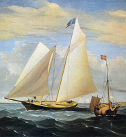 0065964 © Granger - Historical Picture Archive'YACHT AMERICA', 1851.   Competing in the British Royal Yacht Squadron's annual race around the Isle of Wight, 22 August 1851. 'America,' the only non-British entry, came in first. Detail of a painting, 1851, by Fitz Hugh Lane.