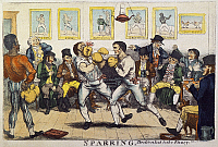 0029772 © Granger - Historical Picture ArchiveBOXING, 19th CENT.   'Sparring', a colored etching, probably by George Cruikshank, of an early 19th century English boxing match.