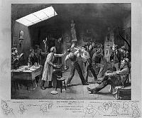 0170318 © Granger - Historical Picture ArchiveSALMAGUNDI CLUB, 1879.   A boxing match during a sketch session at J. Scott Hartley's studio in Greenwich Village during a meeting of the Salmagundi Club. Left to right: Will H. Low, John Hartley, J. Scott Hartley, Joseph Hartley, William Denslow, William Henry Shelton, M.J. Burns, H.P. Share, and Alfred Beck. Watercolor and gouache, 1871, by Will H. Low.