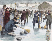 0047376 © Granger - Historical Picture ArchiveCURLING MATCH, 1884.   National title curling match-Scotland vs. America-on Van Cortlandt Lake in the Bronx: wood engraving, 1884.