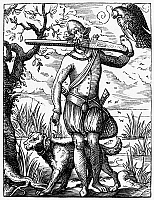0053282 © Granger - Historical Picture ArchiveFALCONER, 16th CENTURY.   A German falconer. Line engraving, 16th century, by Jost Amman.