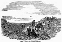 0101318 © Granger - Historical Picture ArchiveENGLAND: FALCONRY, 1850.   'Hawking on the Downs, near Wallingford.' Wood engraving, English, 1850.