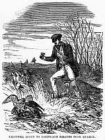 0101342 © Granger - Historical Picture ArchiveFALCONRY, 1850.   A falconer going to disengage his falcons from the prey. Wood engraving, English, 1850.