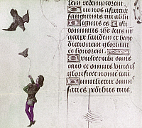 0116953 © Granger - Historical Picture ArchiveFALCONER, 15th CENTURY.   A falconer luring back a falcon during a hunt. Illumination from a Flemish Book of Hours made for Engelbert II of Nassau, 1485-90.