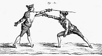 0044431 © Granger - Historical Picture ArchiveFRANCE: FENCING, c1750.   A thrust in epee or foil fencing. Copper engraving, French, mid-18th century.