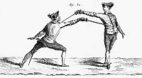 0044432 © Granger - Historical Picture ArchiveFENCING, 18TH CENTURY  A thrust in epee or foil fencing. Copper engraving, French, mid-18th century.