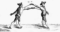 0044433 © Granger - Historical Picture ArchiveFENCING, 18TH CENTURY.   A thrust in epee or foil fencing. Copper engraving, French, mid-18th century.