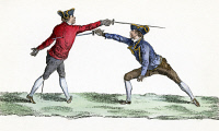 0066640 © Granger - Historical Picture ArchiveFRANCE: FENCING, c1750.   A thrust in epee or foil fencing. Copper engraving, French, mid-18th century.