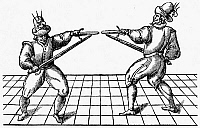 0080342 © Granger - Historical Picture ArchiveDUELING, 1595.   Dueling techniques as illustrated in 'Vincentio Saviolo, His Practise,' a translation, published at London, England, in 1595, of a treatise of 1558 commonly used by Elizabethan actors preparing for stage duels. Woodcut.