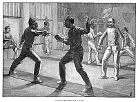 0266954 © Granger - Historical Picture ArchiveFENCING SCHOOL, 1890.   'A School of Arms.' Engraving, English, 1890.