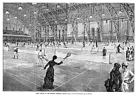0266956 © Granger - Historical Picture ArchiveNEW YORK: TENNIS, 1881.   New Yorkers playing tennis at the Seventh Regiment Armory. Engraving, American, 1881.