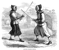 0268432 © Granger - Historical Picture ArchiveJAPAN: FENCING, 1864.   'Japanese Soldiers Fencing.' Wood engraving, English, 1864.