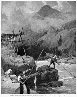 0001425 © Granger - Historical Picture ArchiveCANADA: FISHING, 1890.   Salmon fishing on the Frazer River, British Columbia. Wood engraving, American, 1890.