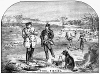 0002169 © Granger - Historical Picture ArchiveICE FISHING, 1854.   Fishing for pike in the Adirondack Mountains, New York. Wood engraving, 1854.