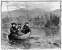 0054463 © Granger - Historical Picture ArchiveFLY FISHING, 1868.   Fly fishing in the Adirondack Mountains, New York. Wood engraving, American, 1868.
