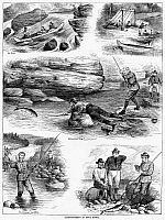 0088197 © Granger - Historical Picture ArchiveSALMON FISHING, 1887.   'Salmon-Fishing in Nova Scotia.' Wood engravings from an American newspaper of 1877.
