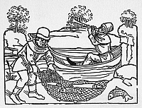 0097505 © Granger - Historical Picture ArchiveAESOP: FISHERMEN, c1477.   Fisherman and musician in a boat. Woodcut from Aesop's 'Life and Fables,' German, c1477.