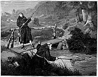 0101371 © Granger - Historical Picture ArchiveMONKS FISHING, 1875.   'Steady, Brother, Steady.' Line engraving, 1875, after a painting by the English artist Walter Dendy Sadler.