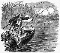 0101372 © Granger - Historical Picture ArchivePARIS: FISHING, 1871.   'Fishing in troubled waters, Pont de Neuilly.' Wood engraving, English, 1871.