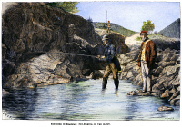 0102442 © Granger - Historical Picture ArchiveSCOTLAND: FISHING, 1880.   Fly-fishing for salmon on the Cluny River in Aberdeenshire, Scotland. Wood engraving, English, 1880.