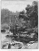 0264933 © Granger - Historical Picture ArchiveOREGON: SALMON WHEEL, 1883.   A water wheel equipped with baskets to catch salmon swimming upstream, on the Columbia River in Oregon. Engraving, American, 1883.