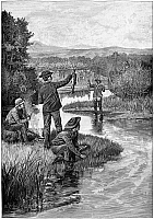 0267405 © Granger - Historical Picture ArchiveTROUT FISHING, 1886.   Trout fishing in Montana. Engraving from a drawing by R.F. Zogbaum, 1886.