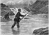 0267411 © Granger - Historical Picture ArchiveCANADA: FISHING, 1883.   'Salmon-fishing in Canadian waters.' Engraving from a drawing by A.B. Frost, 1883.