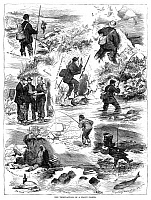 0267413 © Granger - Historical Picture ArchiveTROUT FISHING, 1875.   'The tribulations of a trout fisher.' Engraving, 1877.