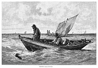 0267450 © Granger - Historical Picture ArchiveFISHING, 1885.   'Cod-fishing.' Engraving after a drawing by M.J. Burns, 1885.