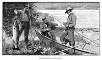 0267482 © Granger - Historical Picture ArchiveSALMON FISHING, 1890.   'On the Miramichi: mending a rod.' Engraving, 1890.