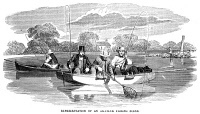 0354191 © Granger - Historical Picture ArchiveFISHING, 1854.   Amateur fisherman fishing for leisure. Wood engraving, American, 1854.