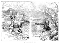 0370682 © Granger - Historical Picture ArchiveFISHING, 1887.   British salmon fishers. Engraving, English, 1887.