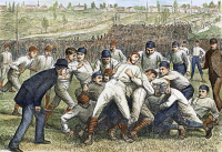 0008460 © Granger - Historical Picture ArchiveCOLLEGE FOOTBALL GAME, 1879.   The football game between Yale and Princeton on 27 November 1879: contemporary colored engraving.