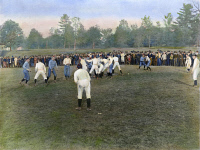 0008799 © Granger - Historical Picture ArchiveCOLLEGE FOOTBAL GAME, 1889.   A football game between Cornell and Rochester, 19 October 1889: oil over a photograph.