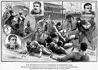 0014441 © Granger - Historical Picture ArchivePRINCETON VS. YALE, 1889.   The inter-collegiate championship game between Princeton and Yale held at Berkeley Oval, New York, on Thanksgiving Day, 1889, won by Princeton 10 to 0. Wood engraving from a contemporary newspaper.
