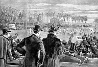 0080379 © Granger - Historical Picture ArchivePRINCETON VS. YALE, 1889.   The intercollegiate championship game between Princeton and Yale held at Berkeley Oval, New York, on Thanksgiving Day, 1889, won by Princeton 10 to 0. Wood engraving from a contemporary newspaper.