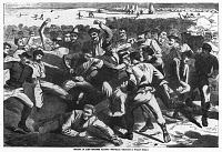 0131083 © Granger - Historical Picture ArchiveFOOTBALL: SOLDIERS, 1865.   'Holiday in Camp - Soldiers Playing Foot-Ball.' Wood engraving after a sketch by Winslow Homer, 1865.