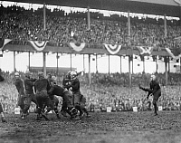 0170379 © Granger - Historical Picture ArchiveFOOTBALL GAME, 1925.   Phil White of the New York Giants kicking the ball during a game against the Chicago Bears, at the Polo Grounds in New York City, 6 December 1925.