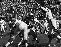 0170382 © Granger - Historical Picture ArchiveFOOTBALL GAME, 1965.   Quarterback Bart Starr of the Green Bay Packers being sacked for a 7-yard loss during a game against the Los Angeles Rams, at County Stadium, Milwaukee, Wisconsin, 14 November 1965.