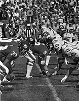 0186538 © Granger - Historical Picture ArchiveGIANTS VS. JETS, c1974.   The New York Giants playing against the New York Jets in an exhibition game at the Yale Bowl in New Haven, Connecticut. Photograph, c1974.