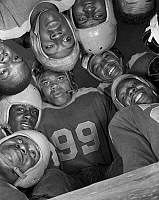 0264957 © Granger - Historical Picture ArchiveFOOTBALL TEAM, 1943.   The football team from Bethune-Cookman College in Daytona Beach, Florida. Photograph by Gordon Parks, 1943.