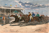 0010483 © Granger - Historical Picture ArchiveHORSE RACING, NY, 1879.   Racing at the Brighton Beach Fair Grounds in Brooklyn, New York. Line engraving, American, 1879, after a drawing by Paul Frenzeny.
