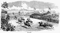 0041939 © Granger - Historical Picture ArchiveHORSE RACING, 1870.   'The Finish.' Wood engraving, English.